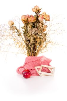 Free Vase With Dry Flowers And Apples Isolated Stock Images - 28562184