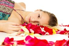 Free Portrait Of A Girl With Petals Of Roses Stock Image - 28563191
