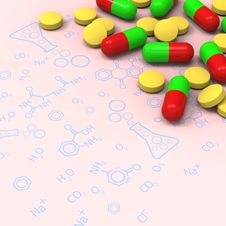 Free Pills And Capsules On Chemical Diagram Stock Image - 28564131