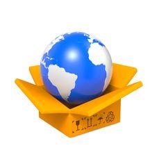Free Opened Box With Globe. Stock Photos - 28564843