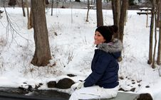 Free Young Smiling Woman In Fallen Snow Royalty Free Stock Photo - 28565325