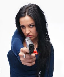 Girl With A Pistol Royalty Free Stock Image