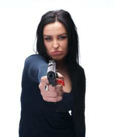 Girl With A Pistol Stock Photo