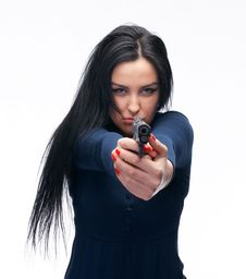 Girl With A Pistol Stock Image