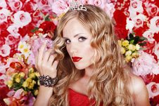 Beautiful Fashion Girl With Red Makeup And Roses. Stock Images