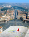 Free Travel Destination Rome Map Push Pin Blur Stock Images - 28571434