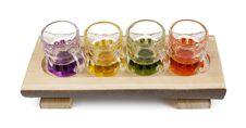 Free Four Mini Pitchers On A Wooden Tray Stock Photos - 28572793