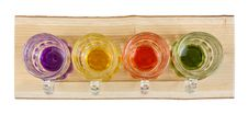Free Four Mini Pitchers On A Wooden Tray Stock Images - 28572814