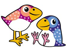Two Childish Birds Royalty Free Stock Photos