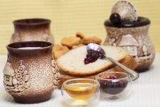 Homemade Bread With Redberries Jam And Honey Stock Images