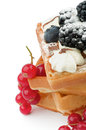 Free Belgian Waffle And Berries Royalty Free Stock Photo - 28581545