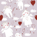 Free Seamless Pattern With Angels Royalty Free Stock Image - 28587926