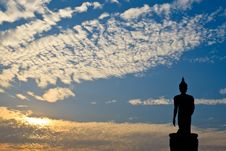 Free Silhouette Of Buddha Statue Stock Photography - 28580632