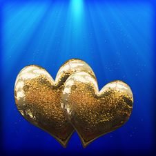Free Two Golden Hearts As A Symbol Of Love Royalty Free Stock Photos - 28585478