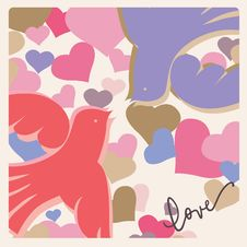 Free Romantic Celebration Card Doves Stock Photography - 28585562