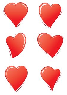 Free Simple Valentines Day Hearts Set Stock Photo - 28587150