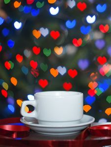 A Cup Of Coffee On The Abstract Backgroun Stock Photo