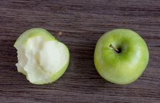 Green Apple And Bitten Green Apple, Royalty Free Stock Image