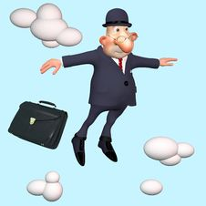 Free The Businessman Under Clouds. Royalty Free Stock Photo - 28587595