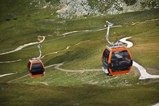 Mountain Cable Cars In The Alps Stock Image