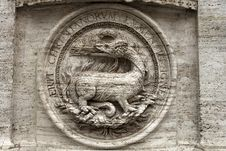 Free Bas-relief Of A Fire-breathing Dragon Royalty Free Stock Photography - 28589537