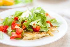 Free Potato Pancakes With Lettuce Top Royalty Free Stock Image - 28589766