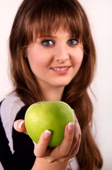 Free Teen Girl And An Apple. Stock Image - 28589941