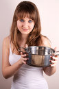 Free Girl And A Pot. Stock Photo - 28590310