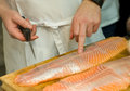 Free Cook Preparing Fresh Salmon Fish Stock Photo - 28593950