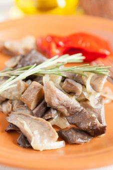 Free Roasted Oyster Mushrooms On A Ceramic Plate Royalty Free Stock Photo - 28590645