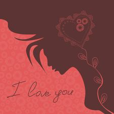 Free Illustration With Silhouette Of Girl And Heart Stock Photography - 28593692