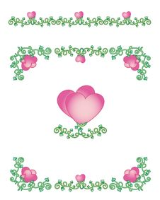 Free Hearts-vines Borders Stock Image - 28593701