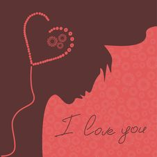 Free Illustration With Silhouette Of Man And Heart Royalty Free Stock Image - 28593776