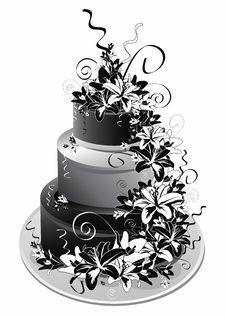 Free Three-storey Cake In Black White Royalty Free Stock Image - 28599026