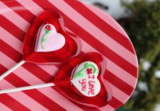 Free Striped Plate And Valentine S Sugar Pops Stock Image - 28599431