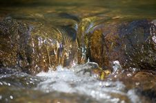 Little Rill With Brown Stones Royalty Free Stock Photography