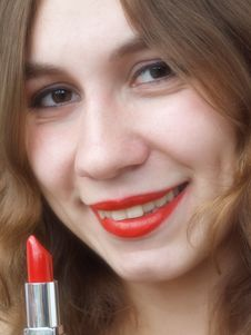 Girl With Lipstick Royalty Free Stock Photography