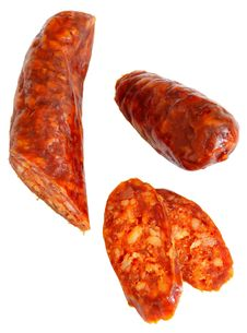 Free Cuted Spicy Home-made Sausage Royalty Free Stock Photography - 2866397