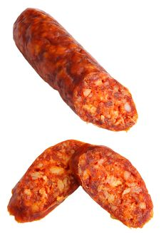 Free Cuted Spicy Home-made Sausage Royalty Free Stock Images - 2866399