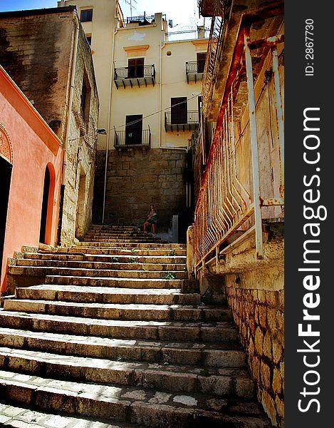 Grunge old stairway