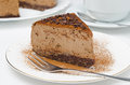 Free Piece Of Chocolate Cheesecake On A Plate Closeup Horizontal Stock Images - 28602564