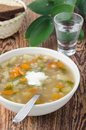 Free Russian Soup Rassolnik With Sour Cream And A Shot Of Vodka, Vert Stock Photos - 28602653
