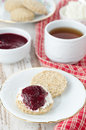 Free Scone With Goat Cheese And Jam For Breakfast Stock Photo - 28602680