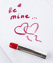 Free Sign On Heart In A Notebook And Red Lipstick In Valentine&x27;s Day Royalty Free Stock Image - 28602706
