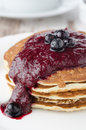 Free Stack Of Pancakes With Black Currant Jam Closeup Royalty Free Stock Images - 28602729