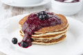 Free Stack Of Pancakes With Black Currant Jam On The Plate, Horizonta Royalty Free Stock Photos - 28602738