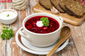 Free Ukrainian And Russian National Red Borsch With Sour Cream Horizo Royalty Free Stock Photography - 28602817