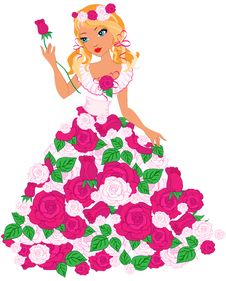 Free Blond Girl With Roses Royalty Free Stock Photos - 28602158