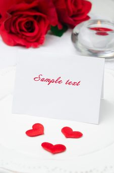 Free Greeting Valentine S Day Card On A Plate, Roses And Candle, Sele Royalty Free Stock Photo - 28602495