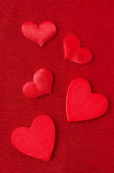 Hearts Of Different Sizes On A Red Background  For Valentine S D Stock Photo